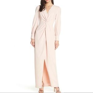 Harlyn l Peachy Nude Twist Front Faux Wrap Gown